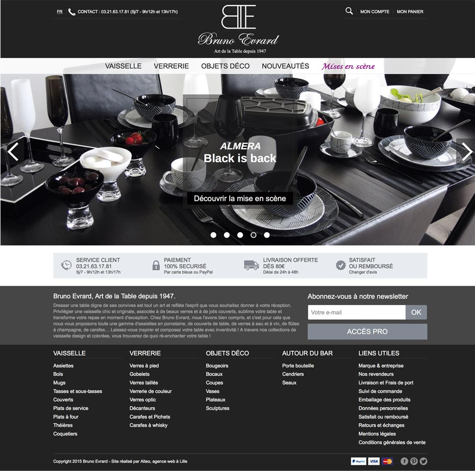 Webdesign du site ecommerce d'arts de la table