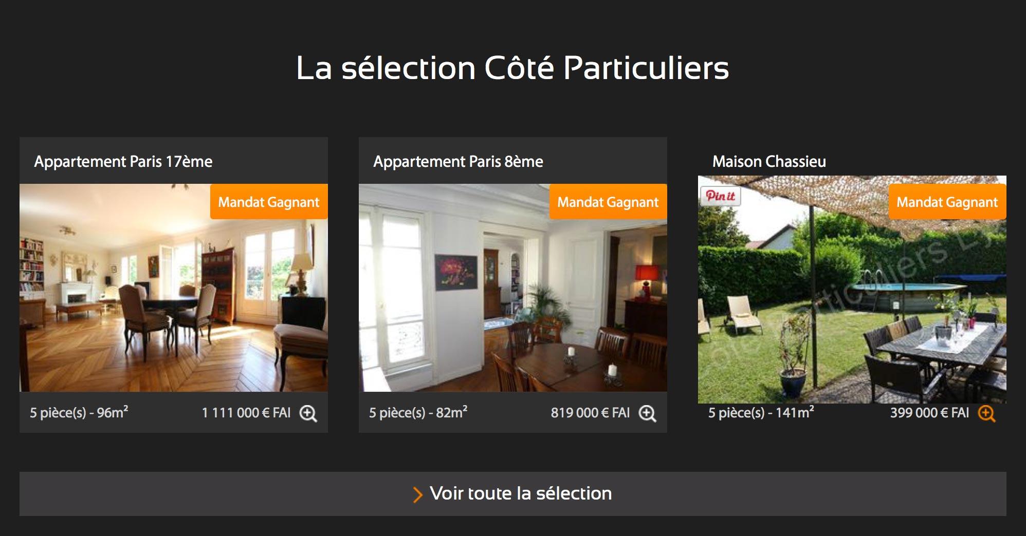 Webdesign de la partie listing