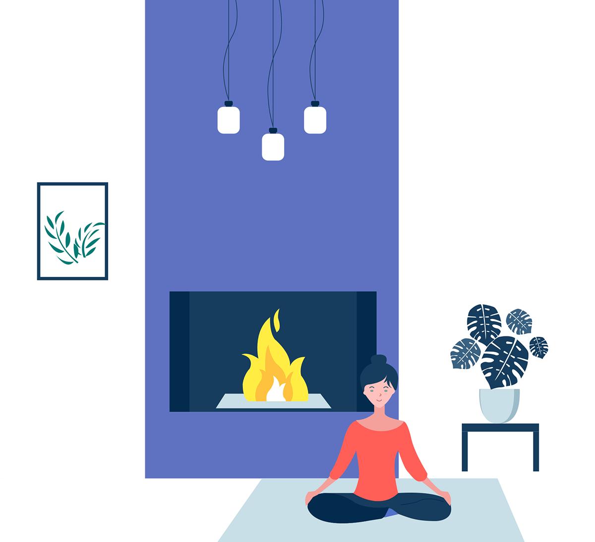 Illustration d'une femme en pleine méditation / yoga