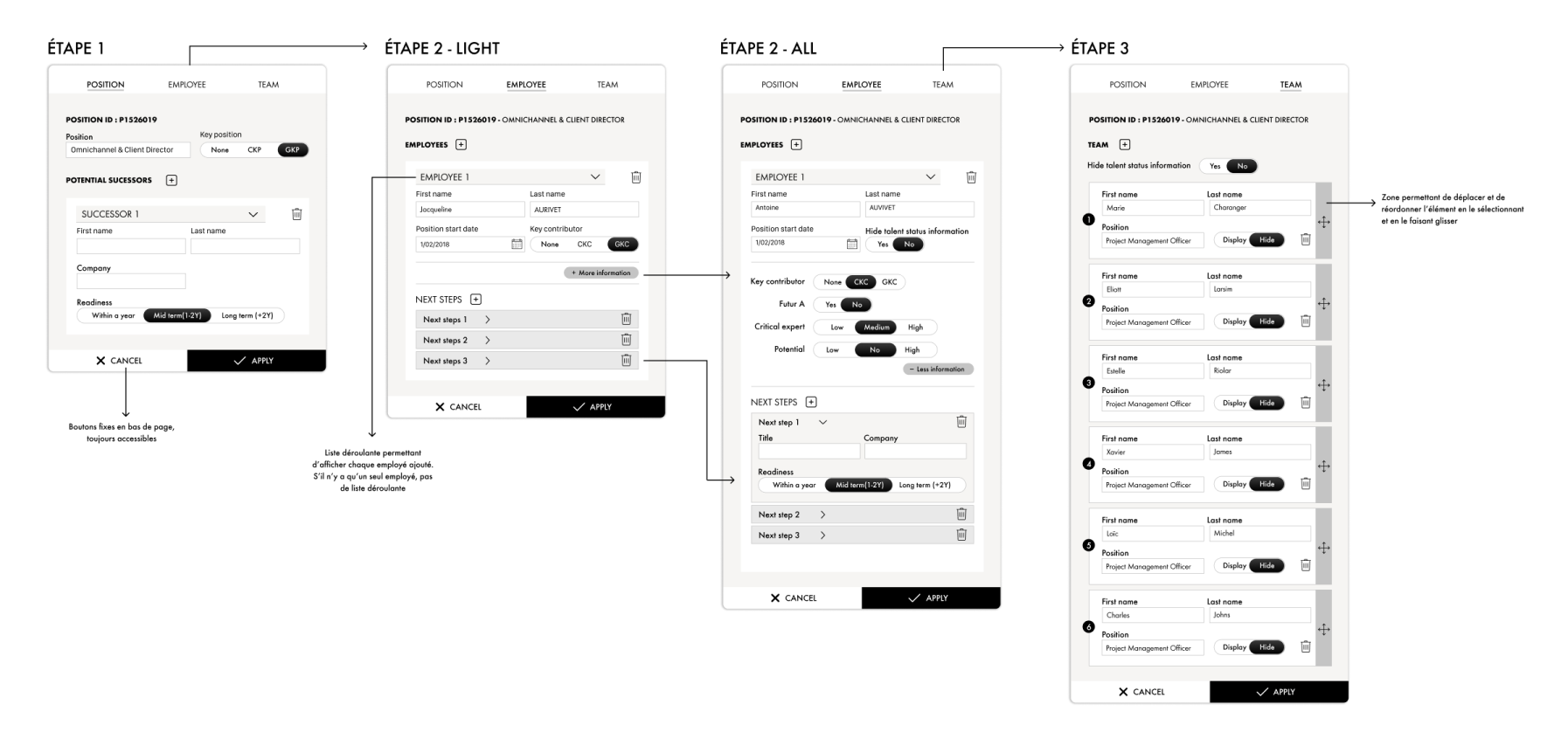 UI Design d'un outil destiné aux DRH