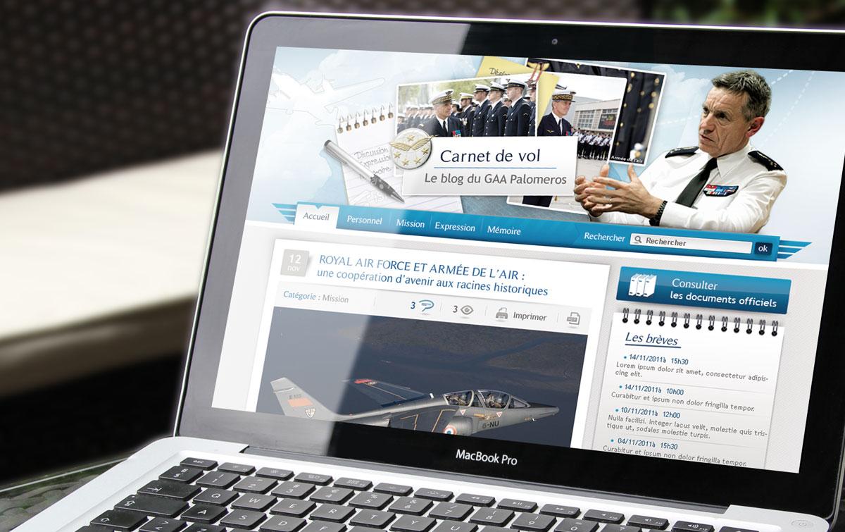 Home page du blog de l'armée - webdesign